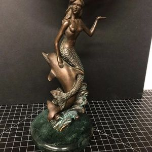 Vintage mermaid dolphin mirror w granite base 18""